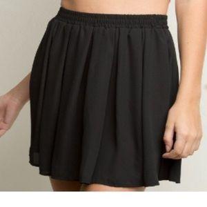 Woman's Brandy Melville Black Mini Skater Skirt OS